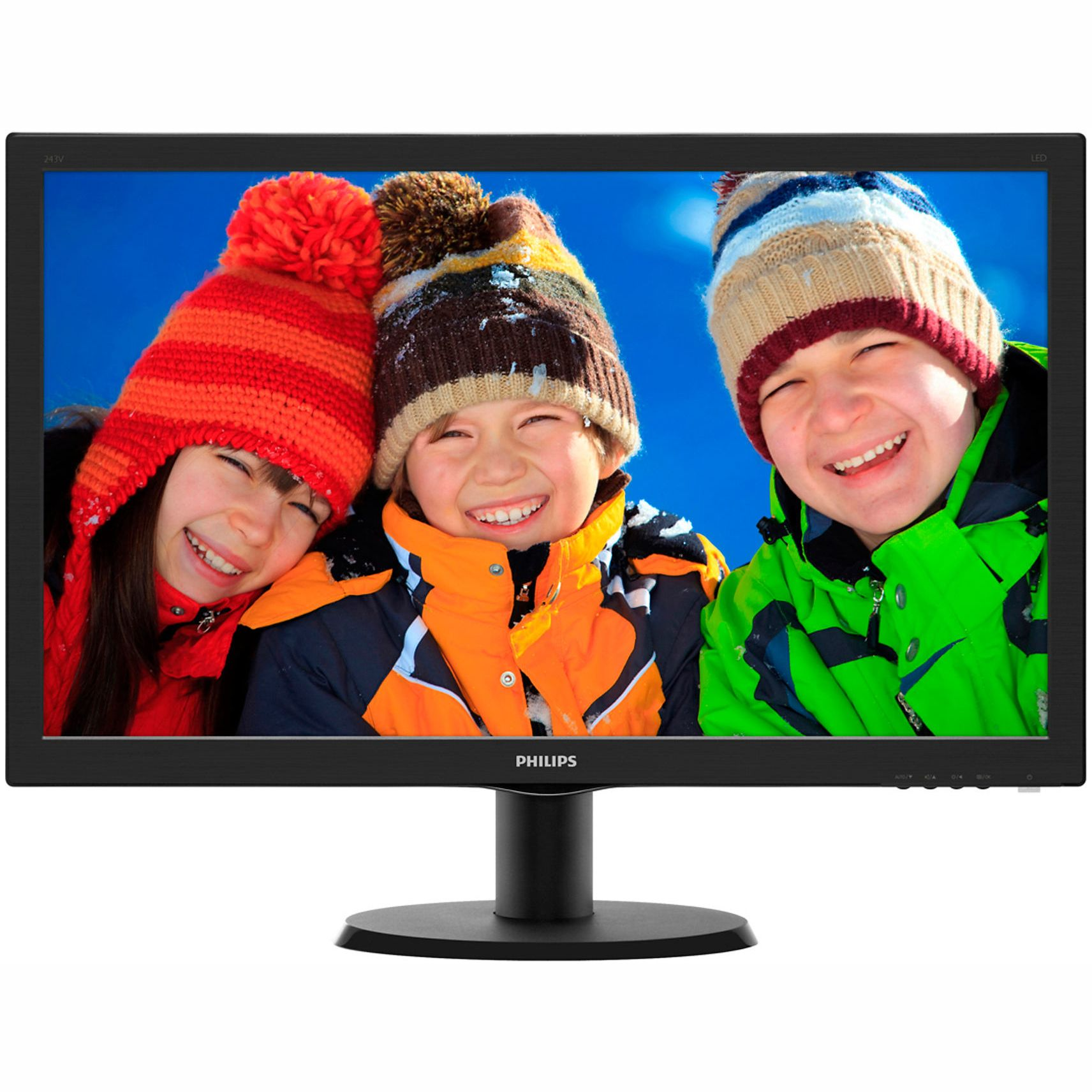 "Монитор LED Philips 23.6"", Wide, Full HD, HDMI, DVI, Говорители, Черен, 243V5LHAB"